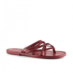 bfc447ed2a54 Hand made red leather womens strips slides thongs with leather sole ...