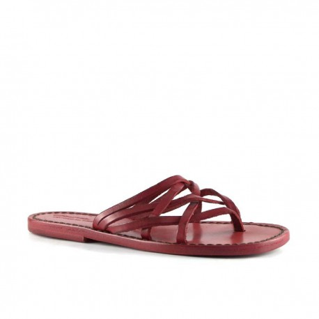 Hand gefertigte Damen-Sandalen mit Reimenstreifen aus rotem Leder und Ledersohle