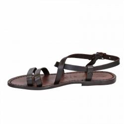 Sandalias mujer de cuero marrón oscuro hecho a mano