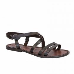 Damen Riemchen-Sandalen aus dunkelbraunem Leder in Italien von Handgefertigt
