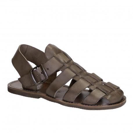 Sandali da frate uomo fatti a mano in pelle color fango