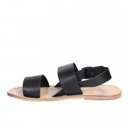 Sandali francescani uomo in pelle nero artigianali