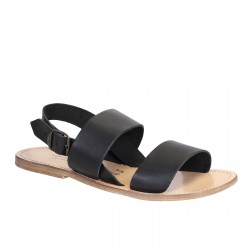 Black leather franciscan sandals for men with natural sole