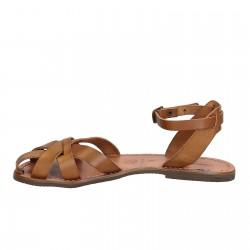 Sandalias planas hecho a mano en Italia para las mujeres reales de cuero marrón