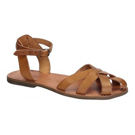 Handmade tan flat sandals for women real italian leather