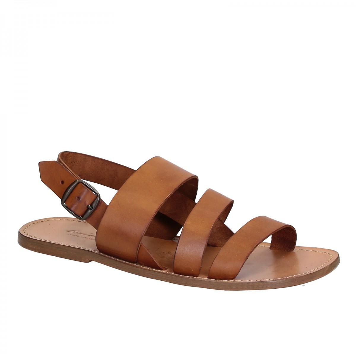 Tan leather sandals handmade in Italy for men's | Gianluca ...