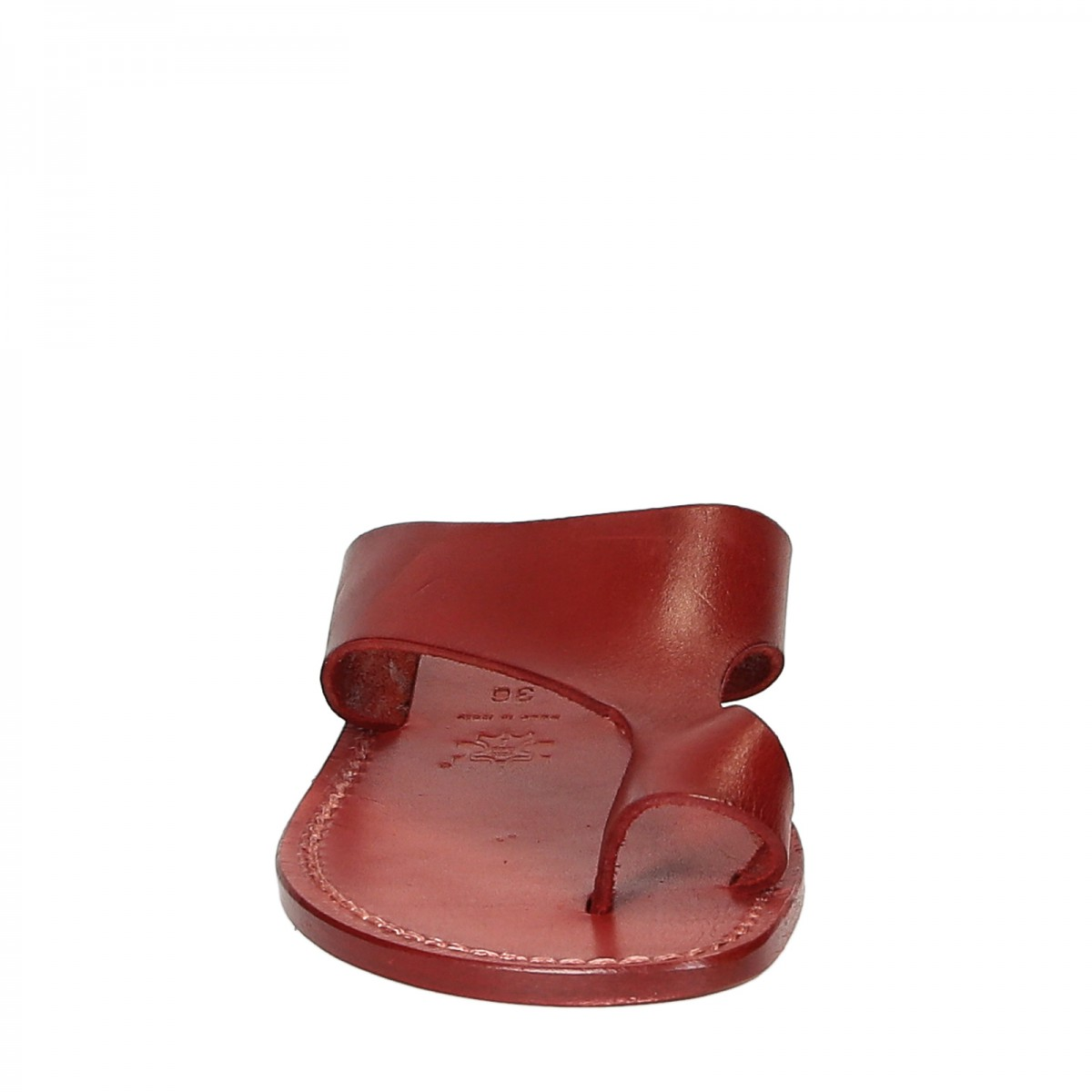 Red Leather Thong Sandals For Women Handmade Gianluca