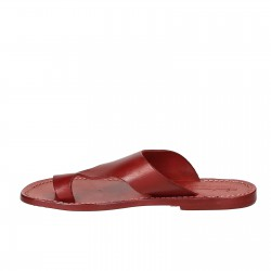 Red leather thong sandals for women handmade