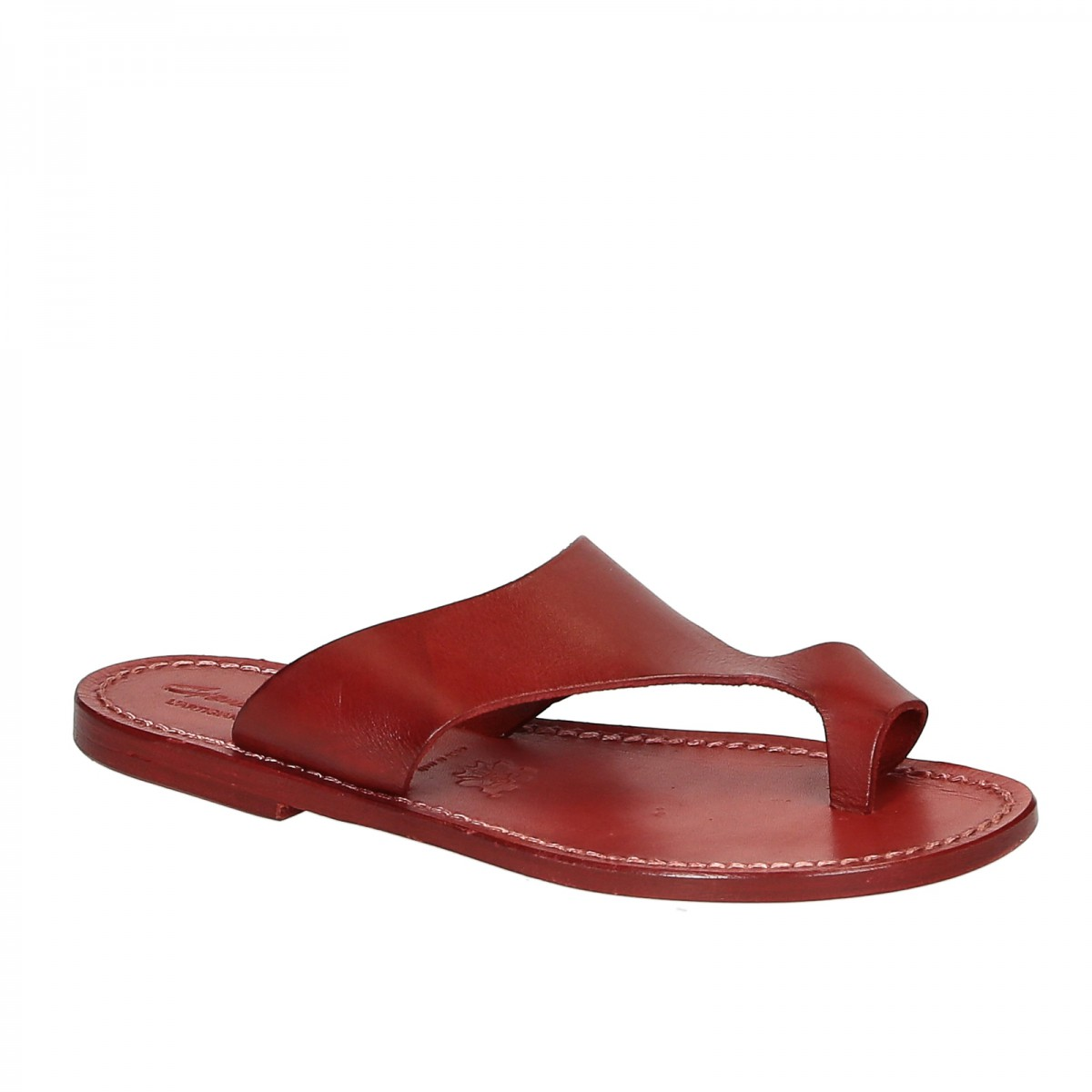 Red leather thong sandals for women