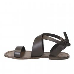 Sandales pour femme artisanales en cuir couleur boue