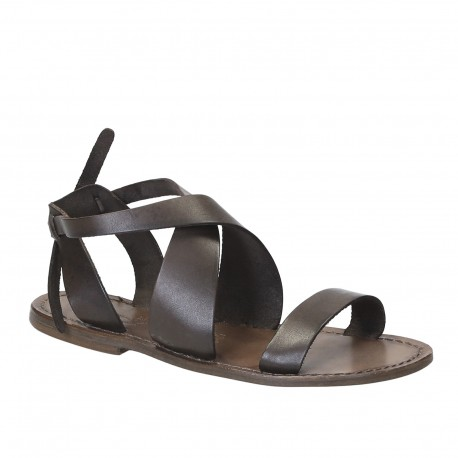 Women's sandals in mud color leather handmade in Italy