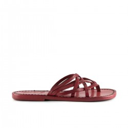 Hand made red leather womens strips slides thongs with leather sole
