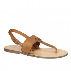 Braunem leder Damen-Flip-Flops sandalen