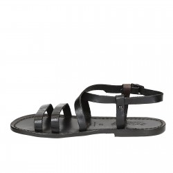 Damen Riemchen-Sandalen aus Schwarzen Leder in Italien von Handgefertigt