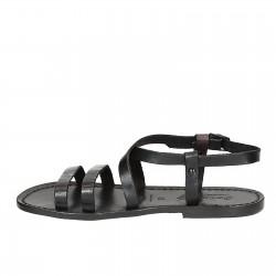 Sandales cuir femme noir artisanale travaillé à la main en Italie