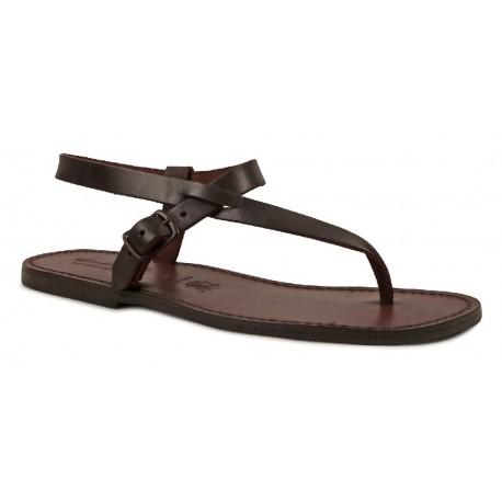 f2b2d59701db Herren Flip-Flop-Sandalen aus braunem Leder in Italien von Hand gefertigt