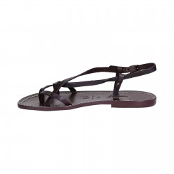 Ladies handmade sandals in purple leather Made in Italy