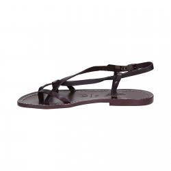 Sandales femme artisanales en cuir couleur prune