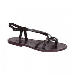 Sandalias para señoras hechas a mano en cuero violeta