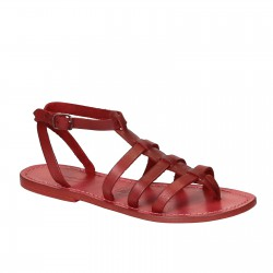 Sandales spartiates pour femme en cuir rouge