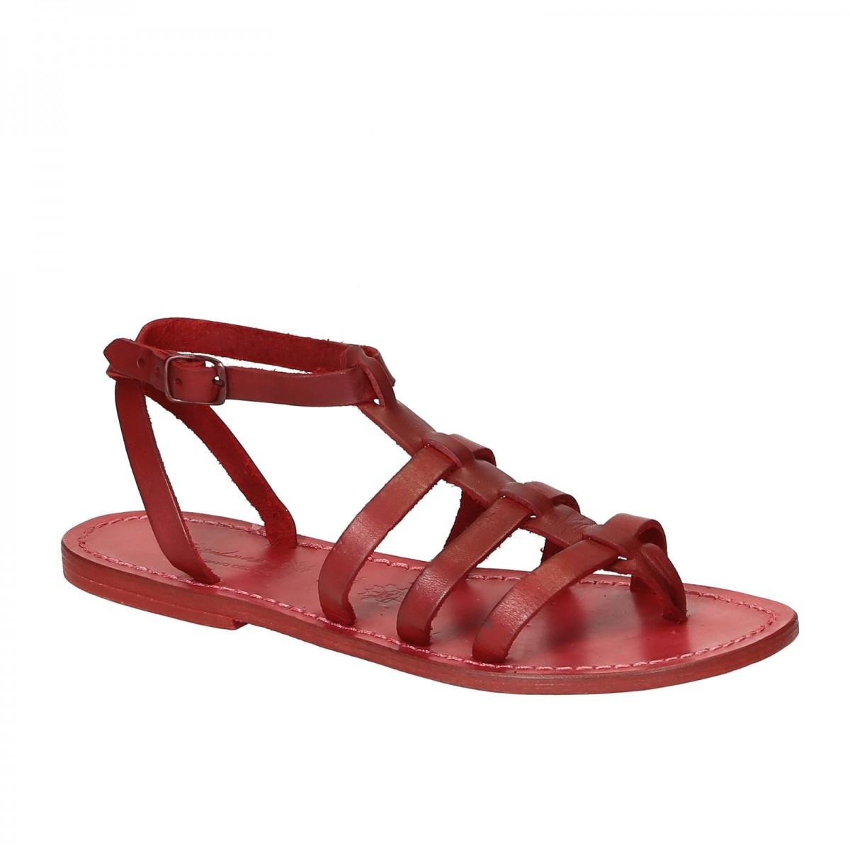 rote leder sandalen damen im gladiator stil in italien von handgefertigt gianluca das leder. Black Bedroom Furniture Sets. Home Design Ideas