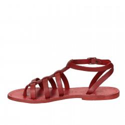 Sandalias gladiador rojo para mujer de cuero hecho a mano en Italia