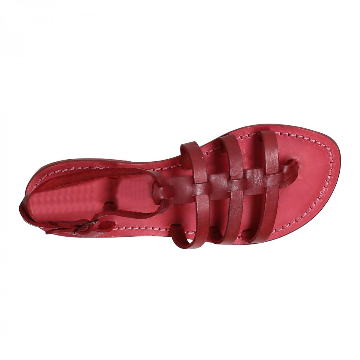 rote leder sandalen damen im gladiator stil in italien von. Black Bedroom Furniture Sets. Home Design Ideas