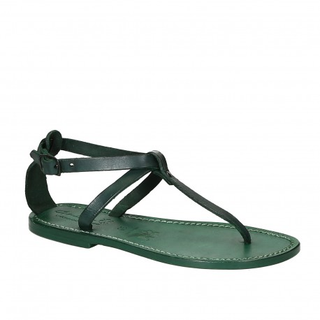 Women's t-strap sandals in green Leather handmade in Italy