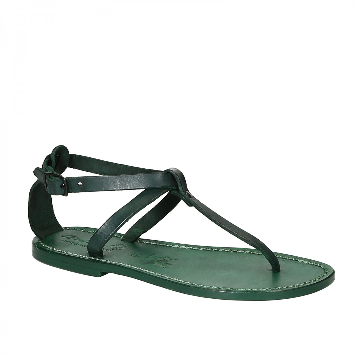 5d8070e6b69 Women s t-strap sandals in green Leather handmade in Italy. Loading zoom