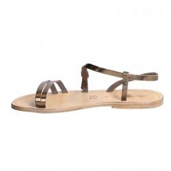 Sandales plates en cuir laminées bronze pour femme