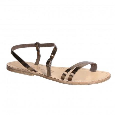 Handmade bronze metallic leather flat sandals for women
