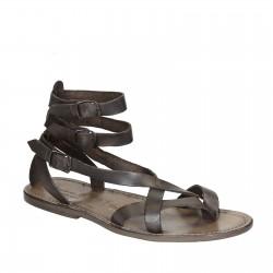 Sandalo gladiatore uomo in pelle color fango