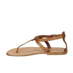 Handmade women's t-strap flat sandals in leather