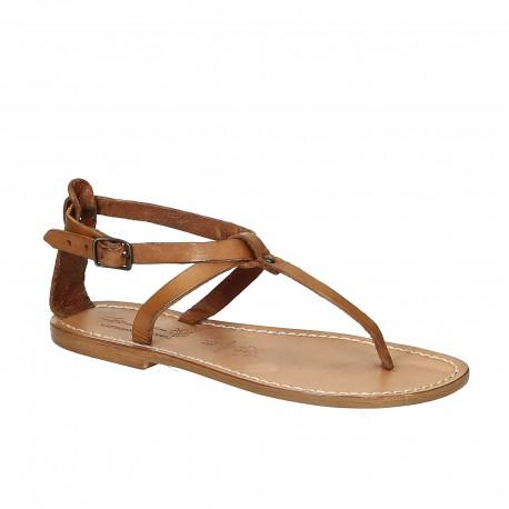 Sandalias planas de cuero para mujer color cuero