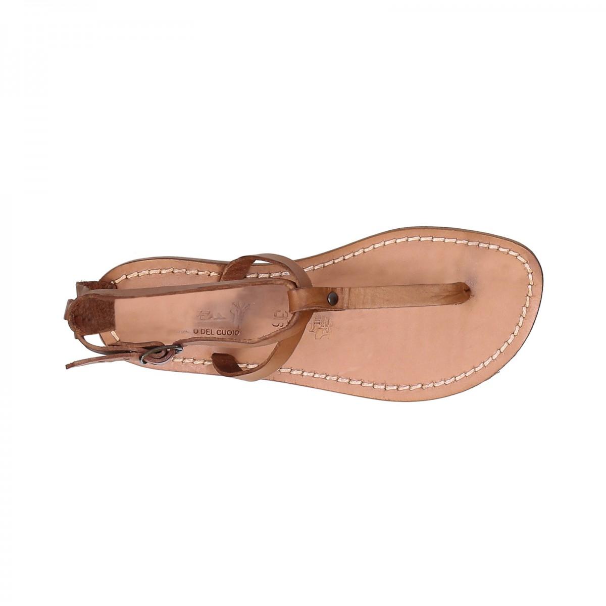 sandale tong en cuir pour femme couleur cuir naturelle gianluca l 39 artisan du cuir. Black Bedroom Furniture Sets. Home Design Ideas