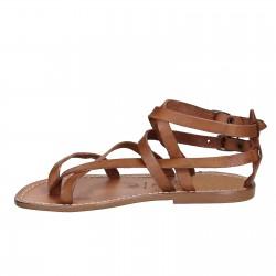 Handmade women's flat sandals in tan leather