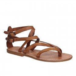 Handmade women's flat sandals in tan leather