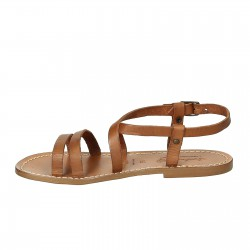Women's tan leather sandals hand made in Italy