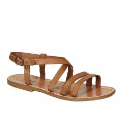Sandalias mujer de cuero marrón hecho a mano