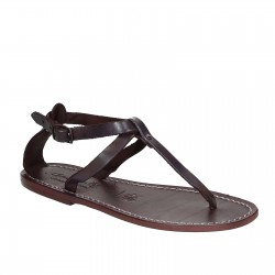 Women's t-strap sandals in violet Leather handmade in Italy