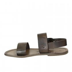 Sandales franciscains pour famme artisanales en cuir couleur boue
