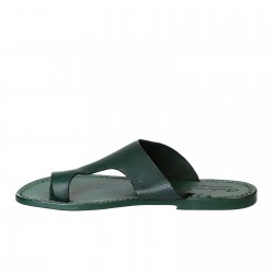 Green leather thong sandals for women handmade