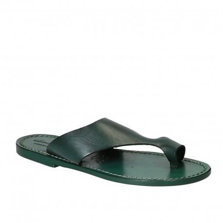 Sandale tong en cuir vert pour femme artisanales