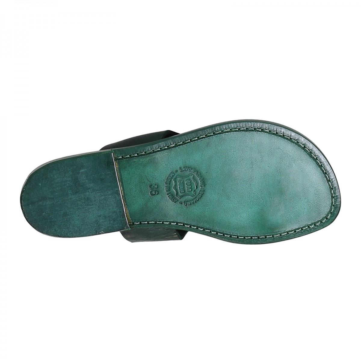 2ecc7f563fe8 ... Green leather thong sandals for women handmade