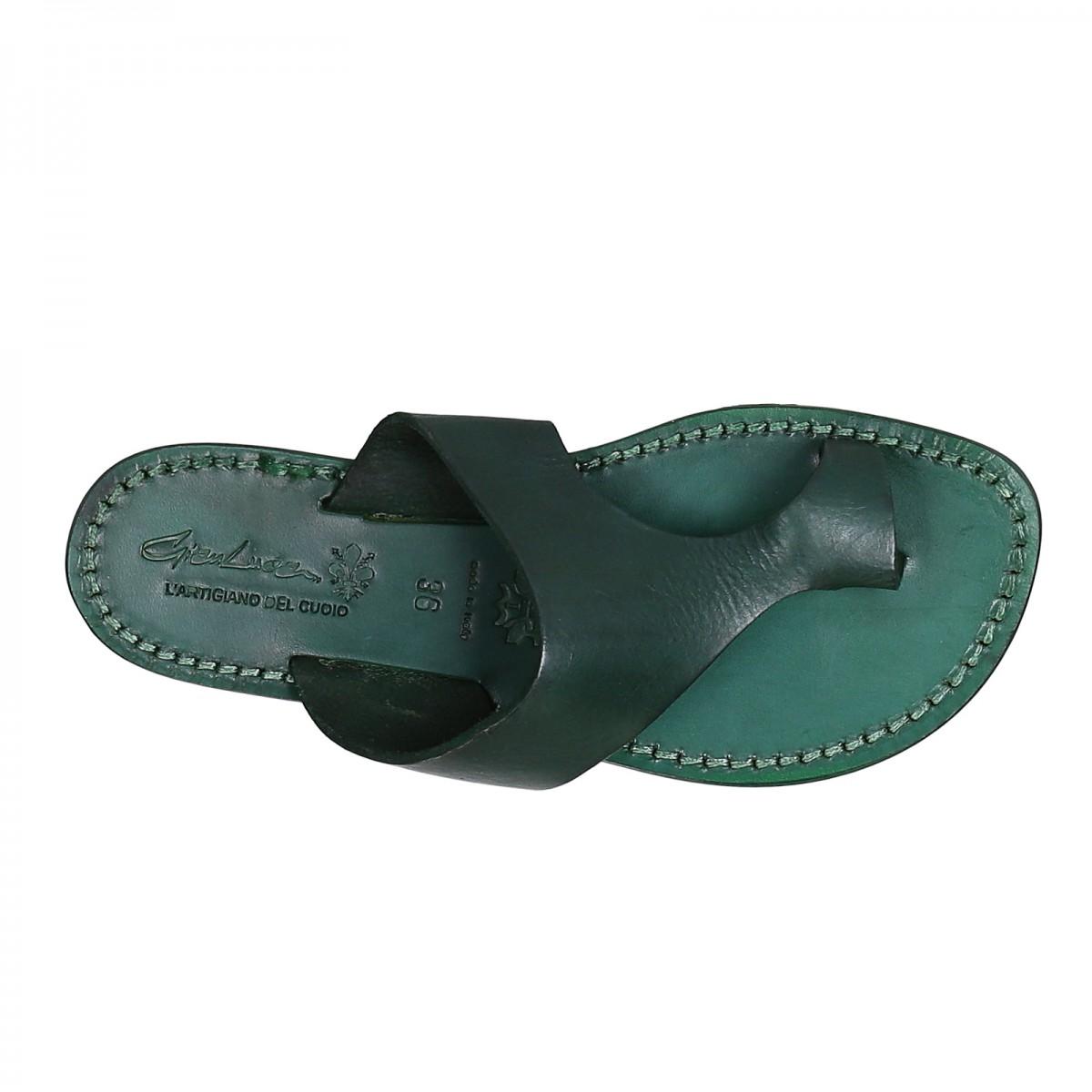 c6de069e6ceb ... Green leather thong sandals for women handmade ...