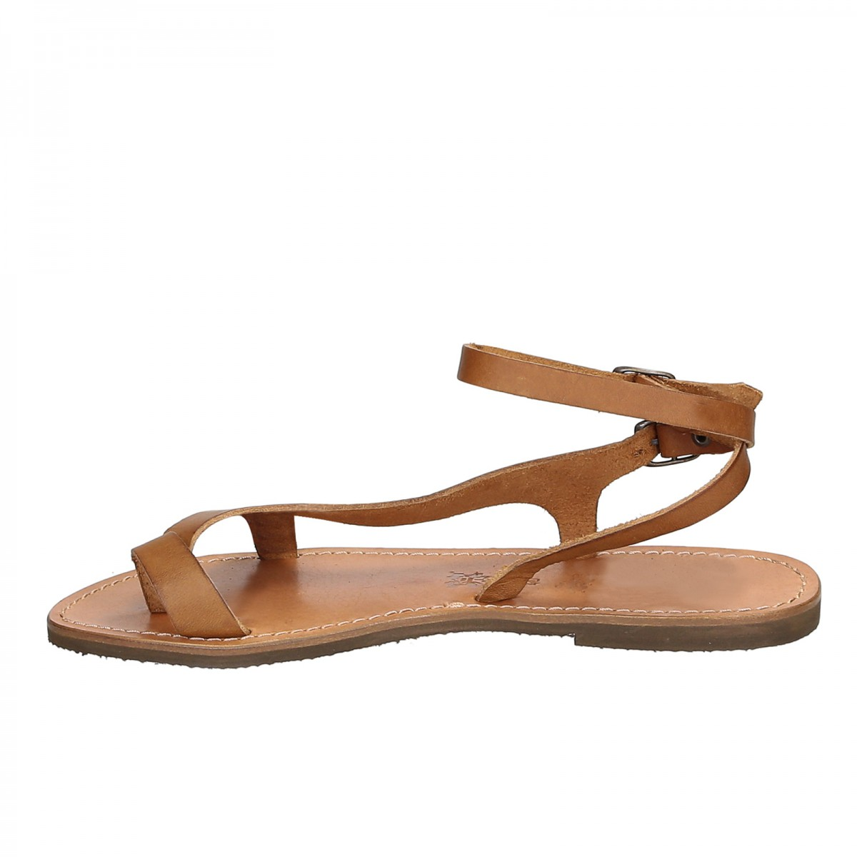 Tan Leather Thong Sandals For Women Handmade In Italy -1772