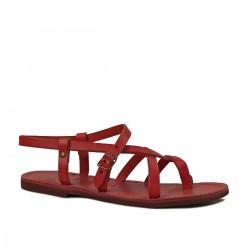 Sandali alla schiava bassi artigianali pelle rosso