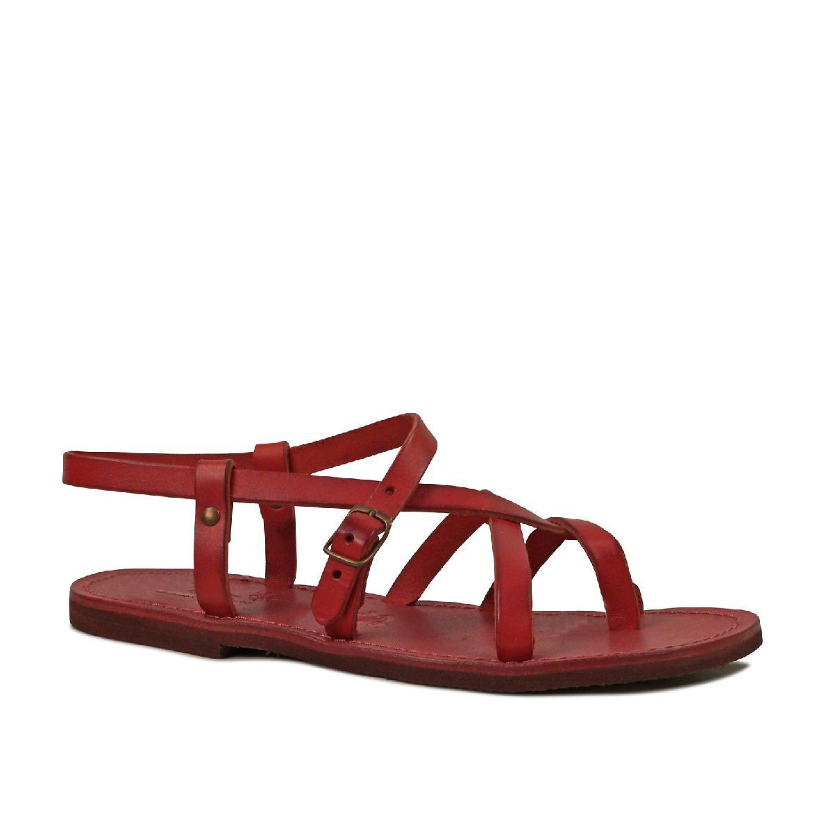 womens rote flache gladiator sandalen handgefertigt in italien. Black Bedroom Furniture Sets. Home Design Ideas