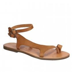 Riemchen-Sandalen für Damen aus hellbraunem Leder in Italien von Handgefertigt