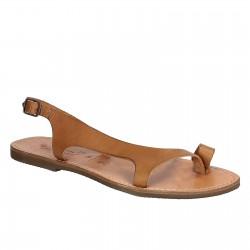 Sandalias de piel marrón claro para las mujeres hecho a mano en Italia